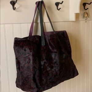 Purple and black cow hide tote from gap